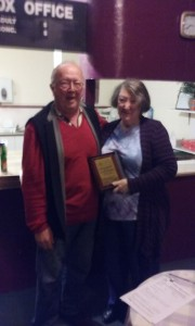 New life member, Maureen Flemming and outgoing president Hugh Litson